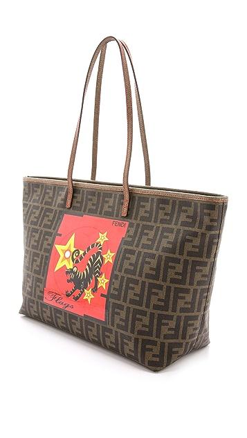 What Goes Around Comes Around Fendi Flags Print Zucca Bag