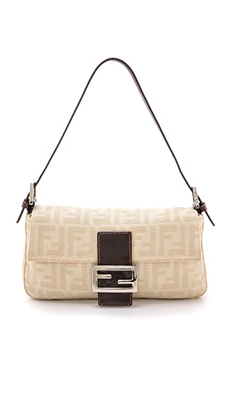 What Goes Around Comes Around Fendi Zucca Cream Baguette Bag