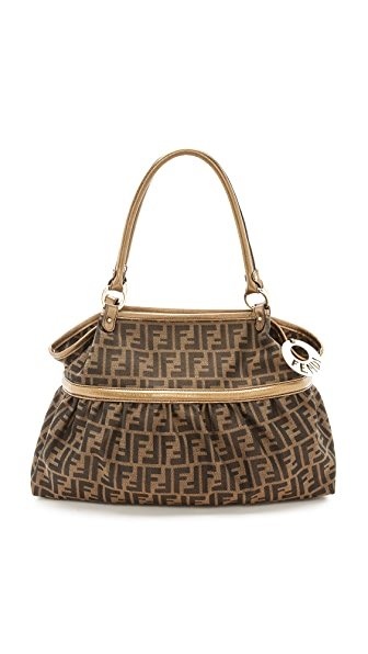What Goes Around Comes Around Fendi Gold Handle Zucca Tote