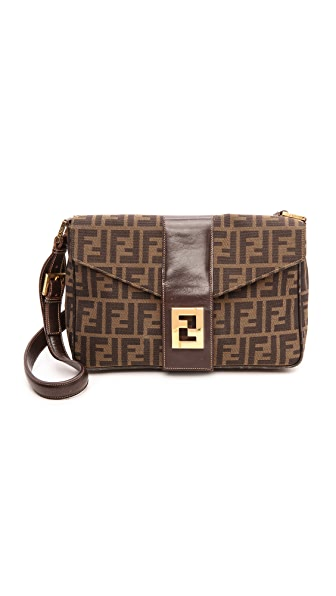 What Goes Around Comes Around Fendi Zucca Large Tri Flap Bag
