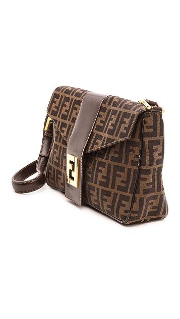 What Goes Around Comes Around Fendi Zucca Large Tri Flap Bag