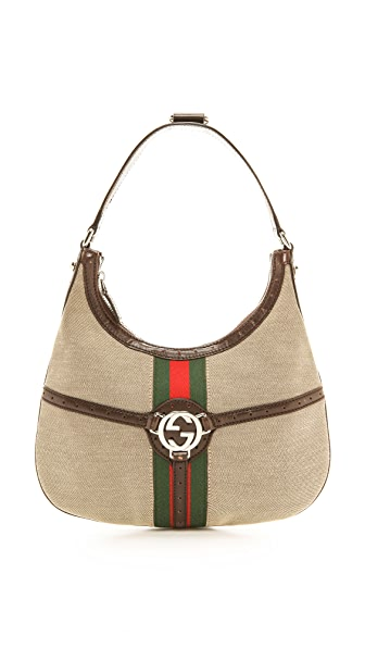 What Goes Around Comes Around Gucci Striped Logo Shoulder Bag