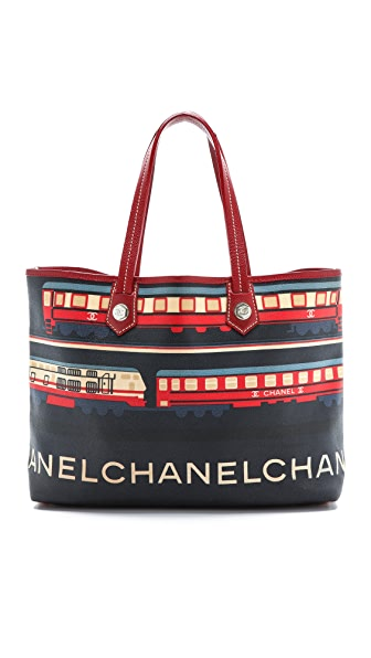 What Goes Around Comes Around Chanel Train Print Tote