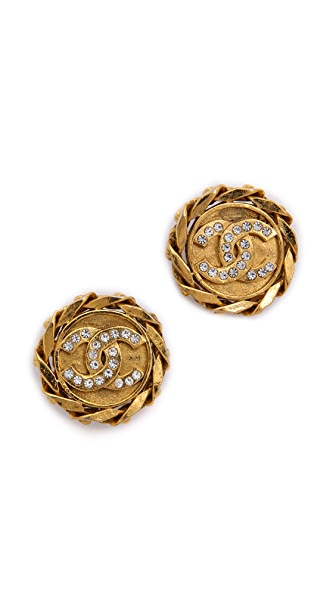 What Goes Around Comes Around Vintage Chanel Rhinestone Earrings