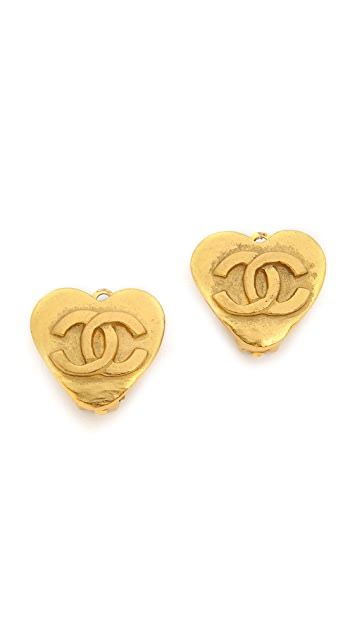 What Goes Around Comes Around Vintage Chanel Hammer Heart Earrings