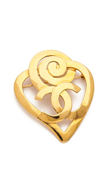 What Goes Around Comes Around Vintage Chanel CC Heart Pin