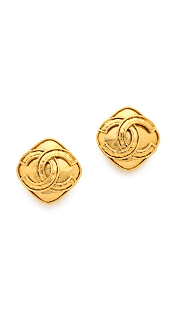 What Goes Around Comes Around Vintage Chanel Square CC Earrings