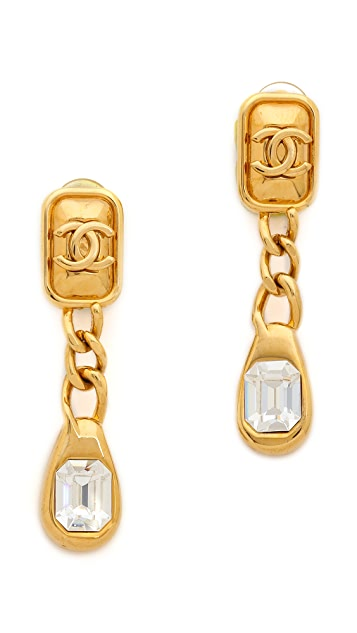 What Goes Around Comes Around Vintage Chanel CC Rhinestone Dangle Earrings