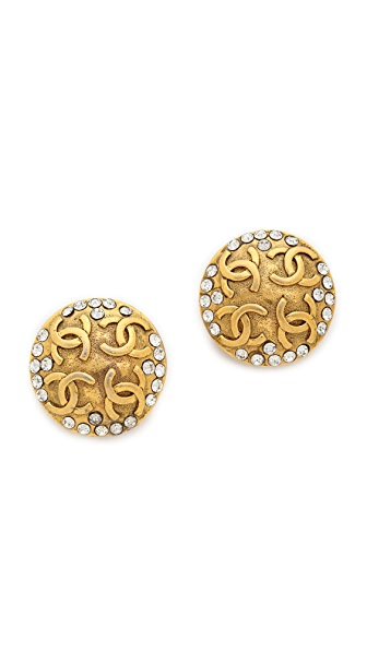 What Goes Around Comes Around Vintage Chanel CC Stone Earrings