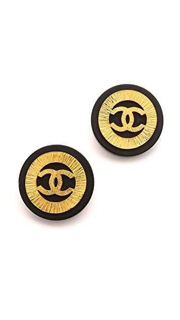 What Goes Around Comes Around Vintage Chanel Ridged CC Button Earrings