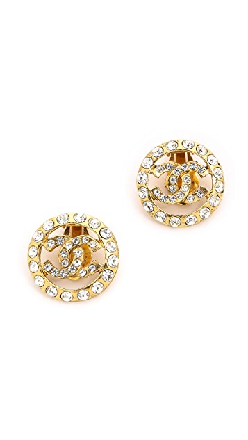 What Goes Around Comes Around Vintage Chanel CC Crystal Earrings