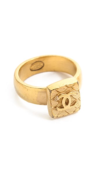 What Goes Around Comes Around Vintage Chanel CC Square Quilted Ring