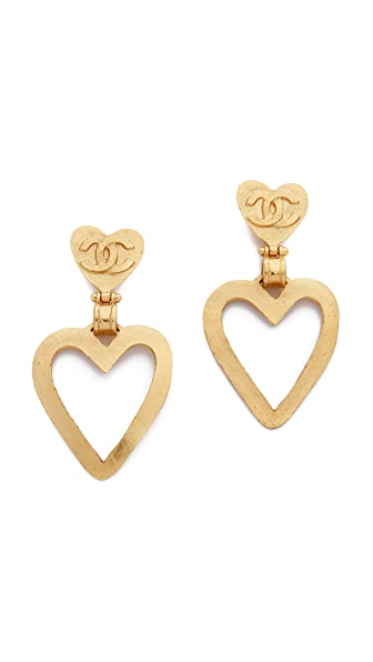 What Goes Around Comes Around Vintage Chanel Heart Dangle Earrings