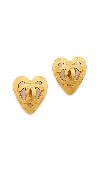 What Goes Around Comes Around Vintage Chanel On Open Heart Earrings