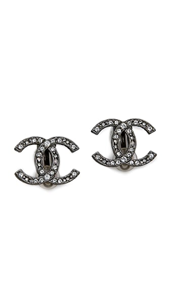 What Goes Around Comes Around Vintage Chanel Crystal Turnlock Earrings