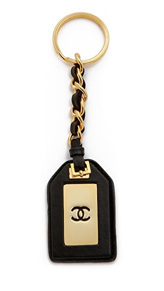 What Goes Around Comes Around Vintage Chanel Leather Tag Keychain