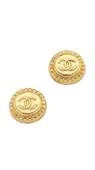 What Goes Around Comes Around Vintage Chanel CC Texture Earrings