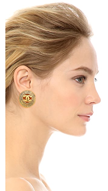 What Goes Around Comes Around Vintage Chanel Cutout CC Burst Earrings