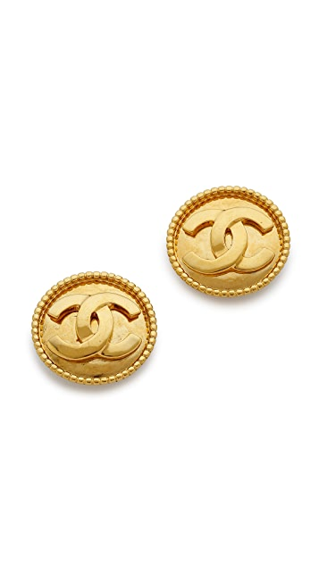 What Goes Around Comes Around Vintage Chanel Dot Border Earrings