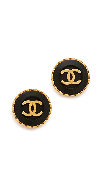 What Goes Around Comes Around Vintage Chanel CC Button Earrings