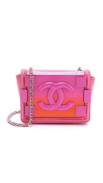 What Goes Around Comes Around Chanel Ombre Logo Bag - Pink