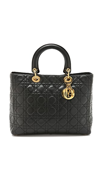 What Goes Around Comes Around Dior Lady Dior Bag - Black