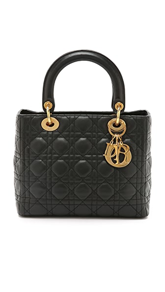 What Goes Around Comes Around Small Dior Lady Dior Bag (Previously Owned) - Black