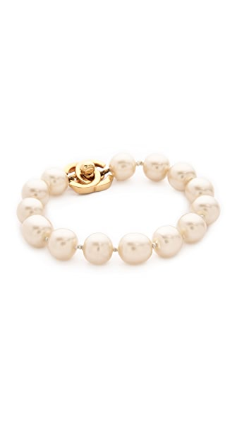 What Goes Around Comes Around Chanel Imitation Pearl Turn Lock Bracelet (Previously Owned)