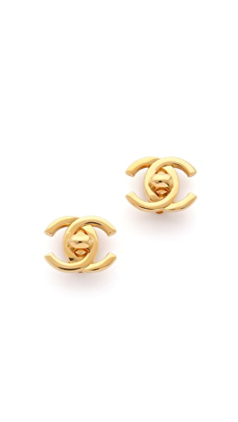 What Goes Around Comes Around Chanel Turn Lock CC Earrings (Previously Owned) - Gold