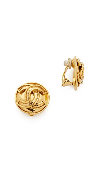 What Goes Around Comes Around Chanel CC On Round Earrings (Previously Owned) - Gold