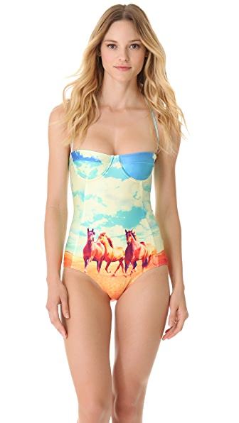 We Are Handsome Mustang Panel One Piece Swimsuit