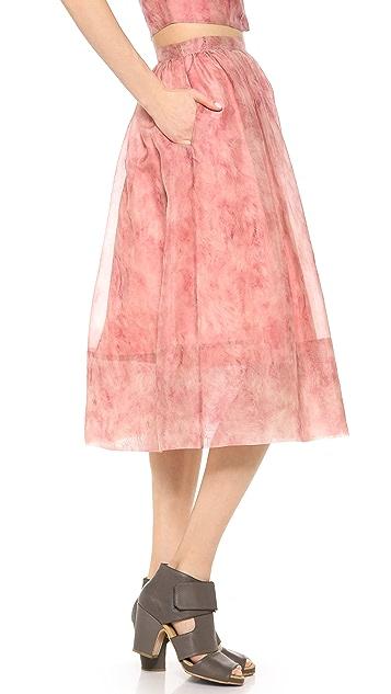 Whistles Vienna Flamingo Feather Full Skirt