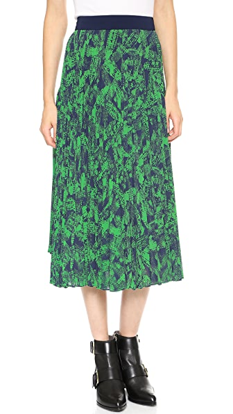 Whistles Anais Floral Asymmetrical Pleated Skirt