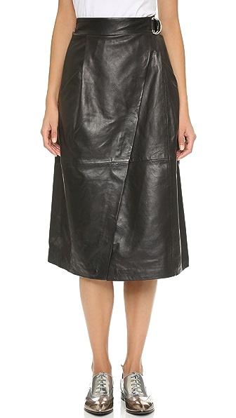 whistles wrap leather midi skirt shopbop