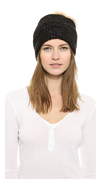 White + Warren Boucle Fur Pom Pom Beanie