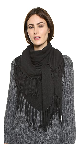 White + Warren Cashmere Fringe Triangle Scarf