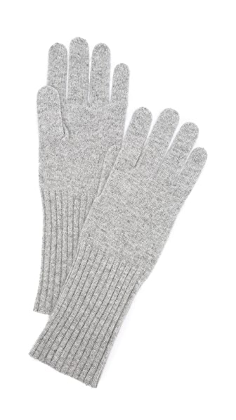 White + Warren Cashmere Rib Trim Glove - Grey Heather