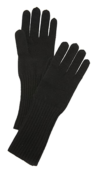 White + Warren Cashmere Rib Trim Glove - Black