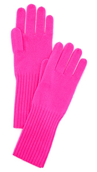 White + Warren Cashmere Rib Trim Gloves - Fluoro Pink