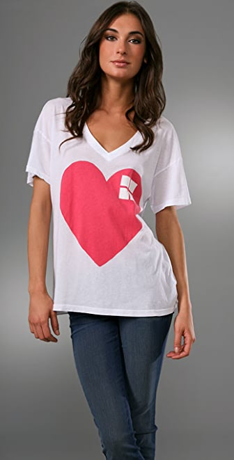 Wildfox Big Heart V Neck Tee