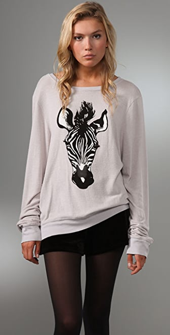 Wildfox Zebra Baggy Beach Sweater