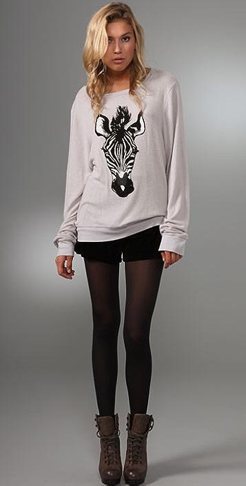 Wildfox Zebra Baggy Beach Sweater