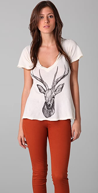 Wildfox Stag Hippie V Neck Tee
