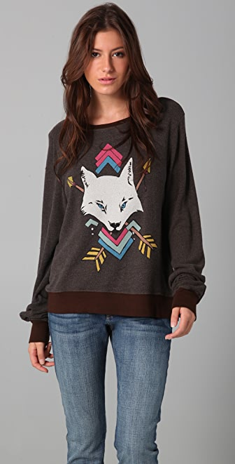 Wildfox White Wolf Baggy Beach Sweatshirt