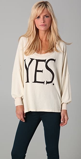 Wildfox YES Nevada Baggy Beach Sweatshirt
