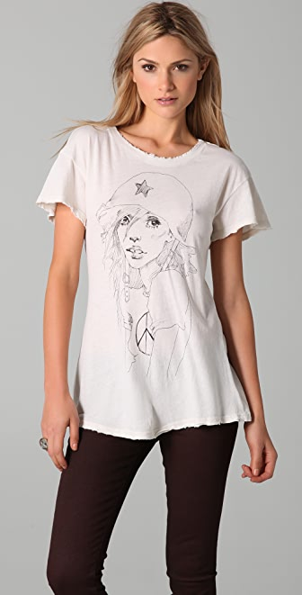 Wildfox Anti War Girl Hippie Crew Neck Tee