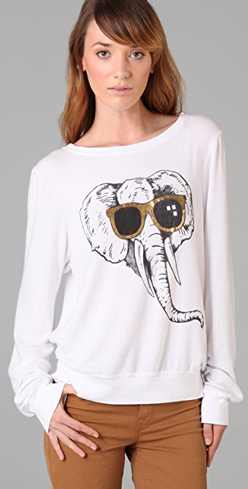 Wildfox Elephant Love Baggy Beach Sweatshirt
