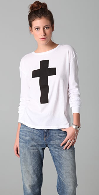 Wildfox Simple Cross Long Sleeve Tee