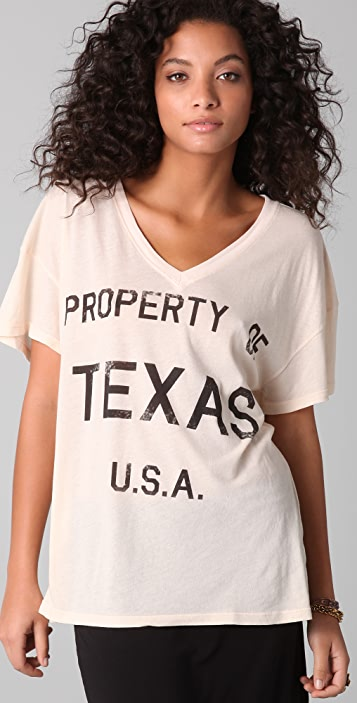 Wildfox Property of Texas Oversized V Neck Tee