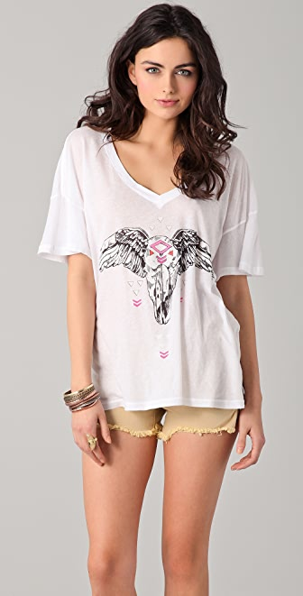 Wildfox Lost Highway Oversized V Neck Tee